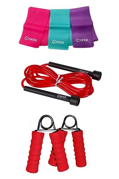 3 Lü Pilates Bandı Uzunluğu Ayarlanabilir Atlama Ipi El Parmak Güçlendirme El Yayı 3 Lü Set