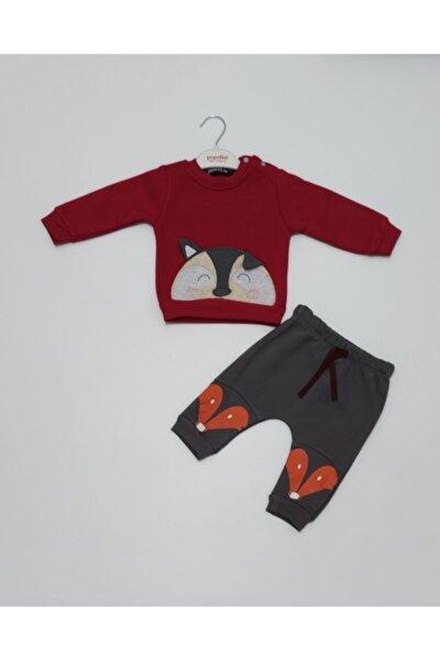 Erkek Bebek Kışlık Üç Iplik Şardonlu Kırmızı-gri Renk Ikili Takım