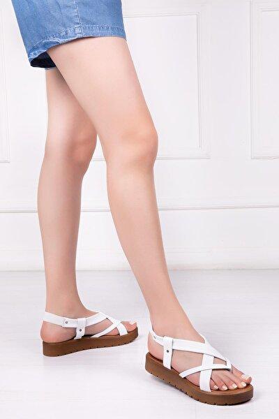 Hakiki Deri Beyaz Kadın Deri Sandalet Rma-3166