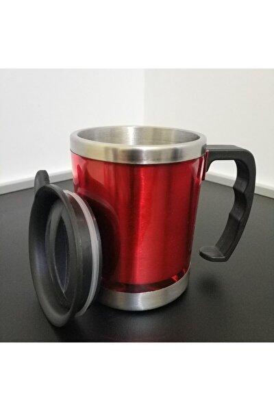 Kırmızı Renk Paslanmaz Çelik Kupa Bardak Termos Vakumlu 400 Ml
