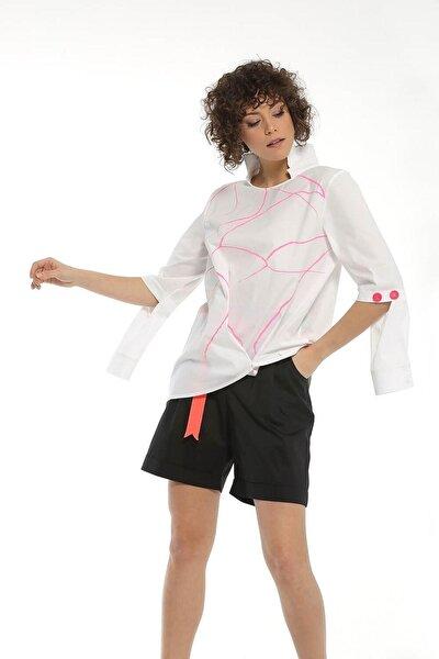 Kadın Beyaz Dokuma Bluz 20yz-423