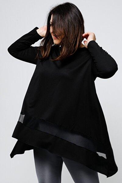 Kadın Büyük Beden Eteği File Detaylı Asimetrik Kesim Uzun Kollu Siyah Bluz