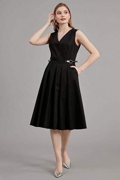 Elbise V Yaka- Kolsuz Deri Apolet Detaylı, Pileli