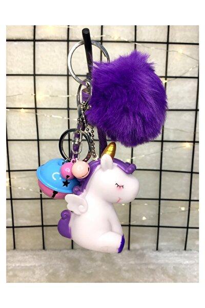 Ponponlu Zilli Unicorn Anahtarlık Mor