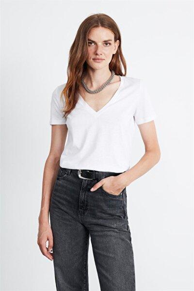 Paısley Kadın Beyaz V Yakalı Kısa Kollu T-shirt