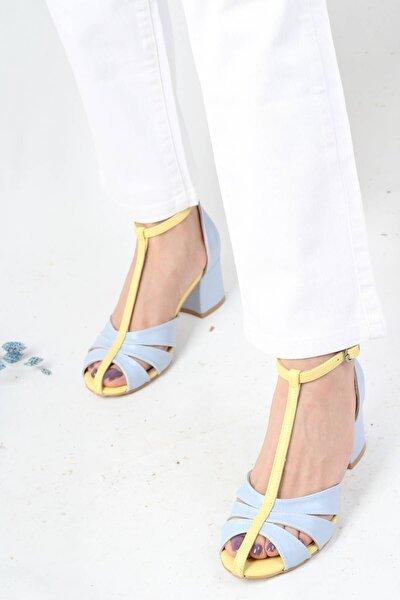 Önü Kapalı Kalın Topuklu Mavi Sarı Kadın Ayakkabı - Unique