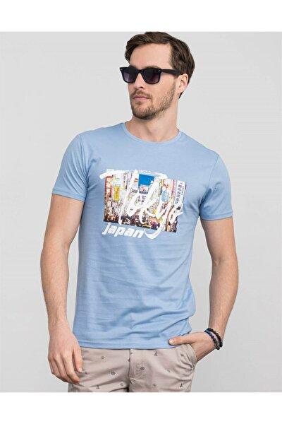 Slim Fit Bisiklet Yaka Baskılı T-shirt