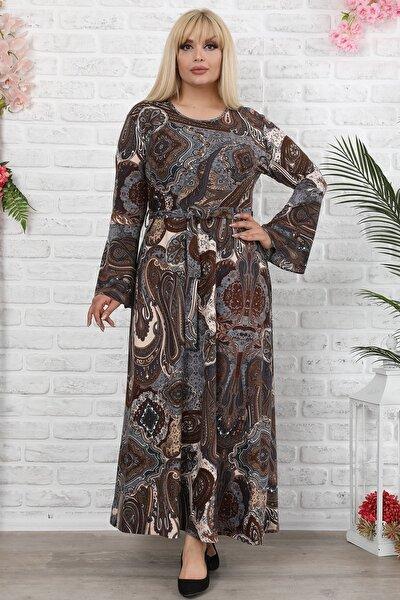 Kadın Büyük Beden Ispanyol Kol Bel Kuşaklı Yün Viskon Uzun Elbise