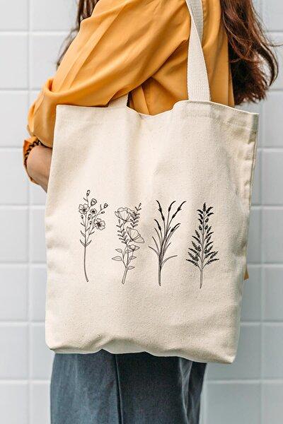 Kanvas 4'lü Çiçek Dalları Tasarımlı Bez Çanta