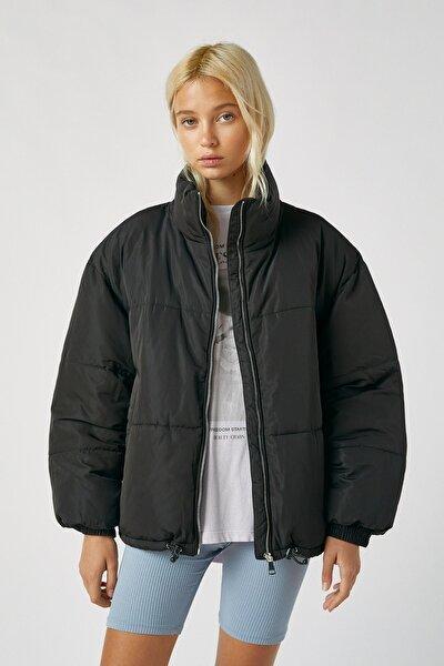 Fermuarlı Kayık Yaka Şişme Ceket