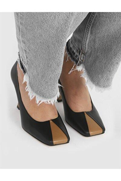 Yetra Hakiki Deri Kadın Siyah Topuklu Ayakkabı