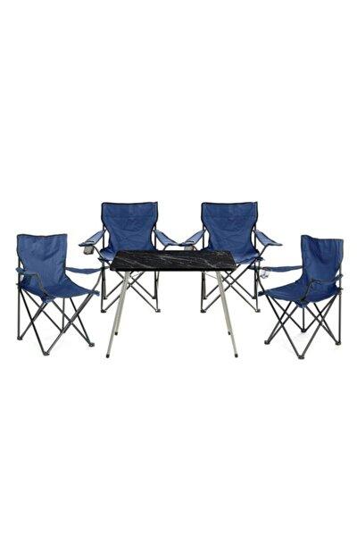 Kamp Seti- 4* Kamp Sandalye Lacivert- 45*60 Piknik Sehpa Siyah