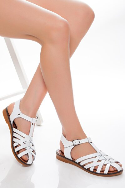 Hakiki Deri Beyaz Kadın Deri Sandalet Rma-3081