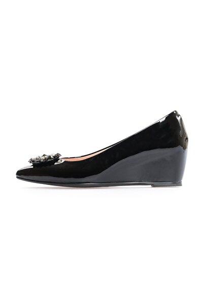 Siyah Rugan Taşlı Günlük Ayakkabı