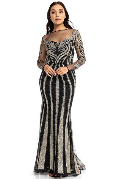 Gold Siyah Transparan Simli Uzun Abiye Elbise