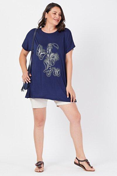 Büyük Beden Lacivert Salaş Kelebek Detaylı T-shirt