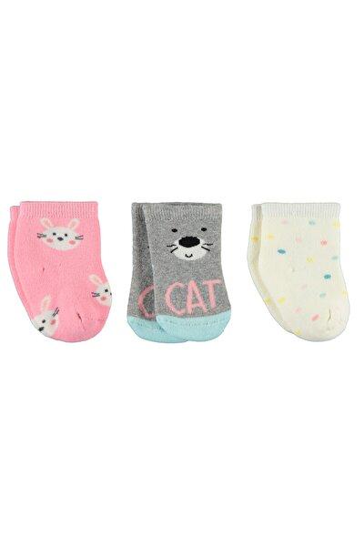Kız Bebek Havlu 3'lü Çorap Set 0-24 Ay Ekru