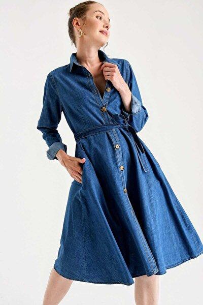 Kadın Elbise Mavi Dugmeli Kot 1924