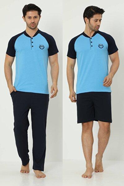 Erkek Kısa Kollu Yaka Düğmeli Ve Cepli 3'lü Pijama Takım 2386