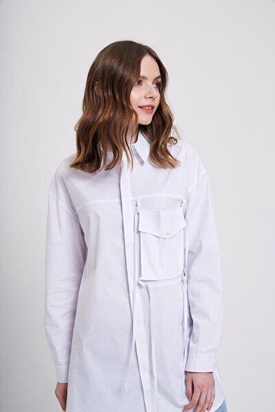 Kadın Beyaz İp Cepli Gömlek