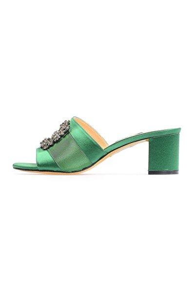 Yeşil Tokalı Kadın Topuklu Terlik