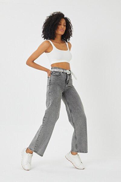 Füme Taşlanmış Bol Paça Kot Pantolon