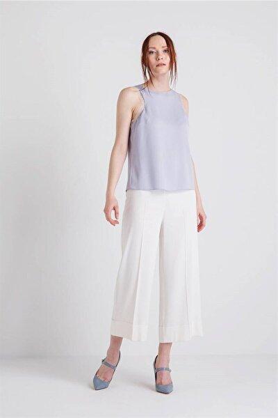 Rue 10980205 Kolsuz Uçları Tül Detaylı Bluz Açık Gri