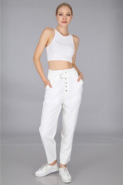 Düğmeli Kemerli Pantolon