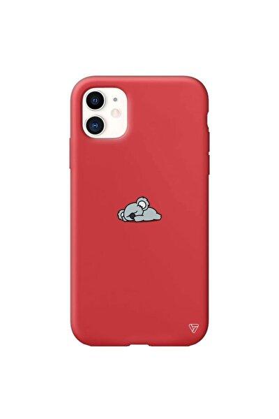 Iphone 11 Kırmızı Renkli Silikon Koala Telefon Kılıfı