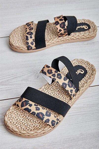 Siyah Leopar Kadın Sandalet L0682020054