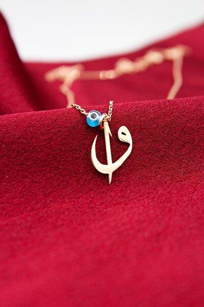 925 Ayar Gümüş, Rose Altın Kaplama, Nazar Boncuklu Elif Vav Kadın Kolye Nzrbncelfvv-015