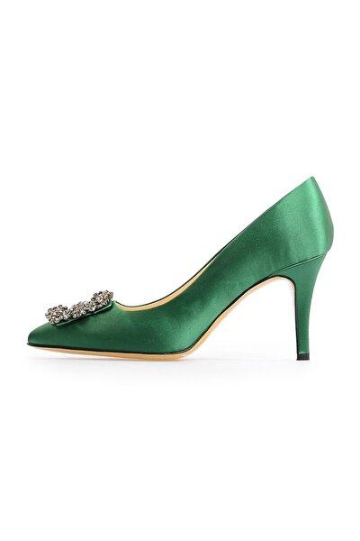 Yeşil Kare Tokalı Stiletto
