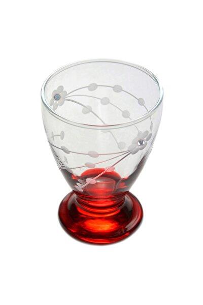 41011 Çın Çın 12 Adet (Kırmızı Selvi Taşlı) Su-meşrubat Bardağı