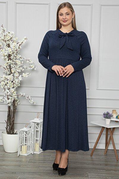Kadın Büyük Beden Kravat Yaka Belden Oturtmalı Lacivert Elbise