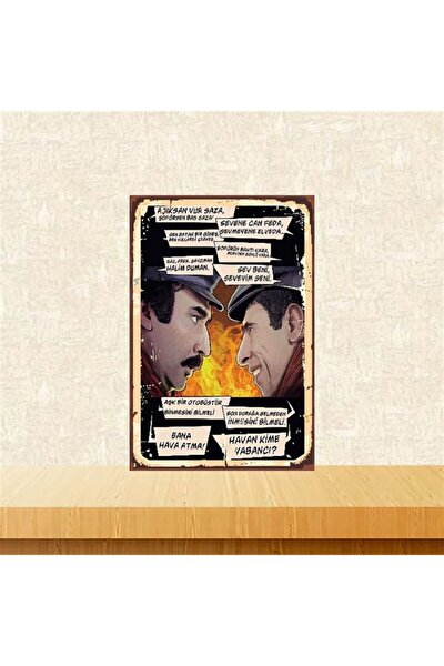 Sevene Can Feda Sevmeyene Elveda Çiçek Abbas 20-30 Cm Retro Ahşap Poster