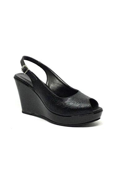Mira 5020 Siyah Kadın Dolgu Topuk Sandalet