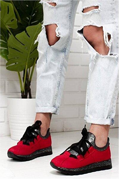 Hudson Kırmızı Süet Kadın Spor Ayakkabı