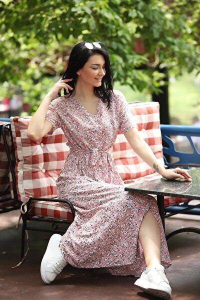 Çıtır Desen Düğme Detay Kuşaklı Viskon Elbise