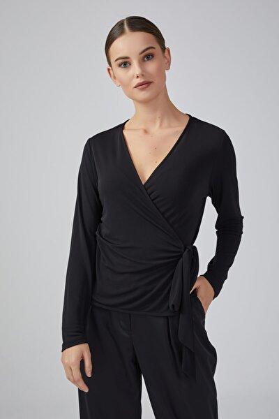 Anvelop Kesim Uzun Kollu Jarse Bluz - Siyah