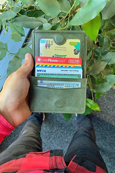 Hakiki Deri Kartlık - Mıknatıslı / Yeşil Naturel