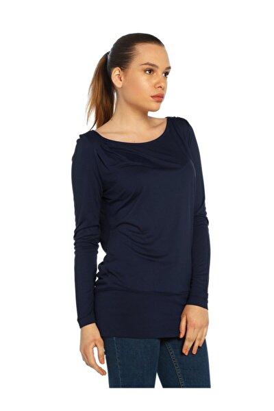 Kadın Lacivert Geniş Yaka Bluz - Bga013141