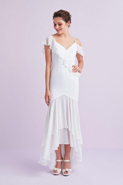 Oleg By Beyaz Askılı Önü Kısa Arkası Uzun Şifon Büyük Beden Nikah Elbisesi