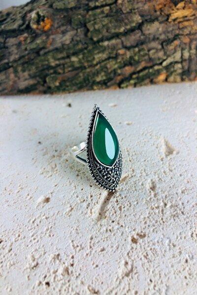 Damla Model Yeşil Akik Ve Markazit Taşlı Gümüş Bayan Yüzük