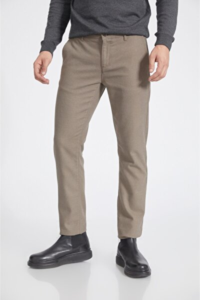 Erkek Bej Yandan Cepli Flanel Slim Fit Pantolon A02y3038