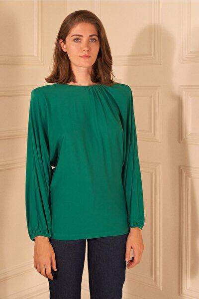 Kadın Yeşil Örme Yakası Büzgülü Bluz