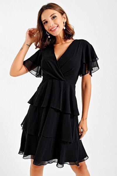 Kruvaze Kat Kat Şifon Abiye Elbise Siyah