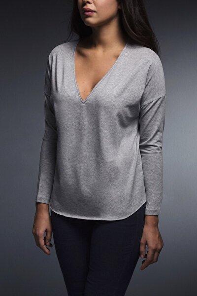 Vogue-ls Basic V Yaka Sweatshirt - Gri