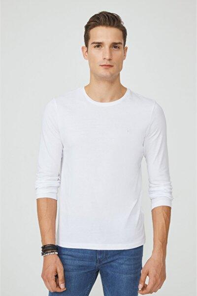 Erkek Beyaz Bisiklet Yaka Düz Uzun Kol T-shirt E001002