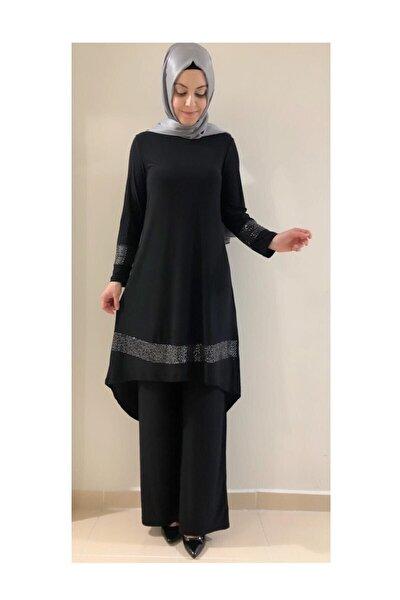 Büyük Beden Bayan Payetli Tunik Pantolon Takım Siyah