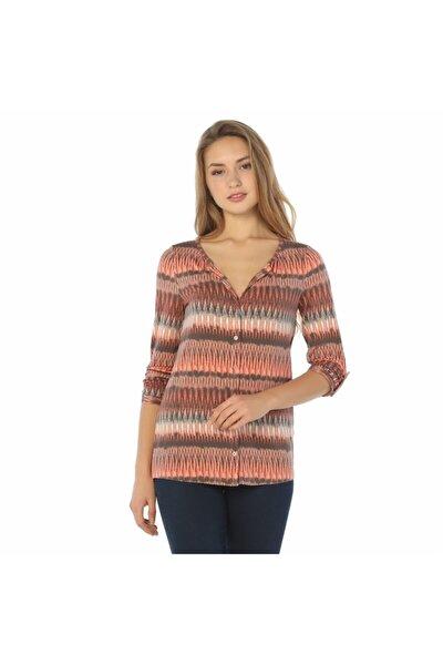 Kadın Çok Renkli Trend Desen Baskılı Bluz - Bga049548